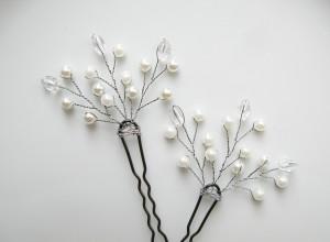 шпильки из бусин. свадебное украшение ручной работы
