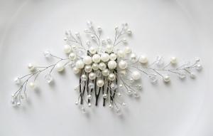 белый свадебный гребень. авторское украшение